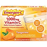 Emergen-C 1000mg Vitamin C Powder, with Antioxidants, B Vitamins and Electrolytes, Vitamin C Supplements for Immune Support, Caffeine Free Fizzy Drink Mix, Tangerine Flavor, 0.33 Ounce (Pack of 30)