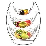 MyGift 3 Tier Chrome Triple Hammock Fruit / Vegetables / Produce Metal Basket Rack Display Stand