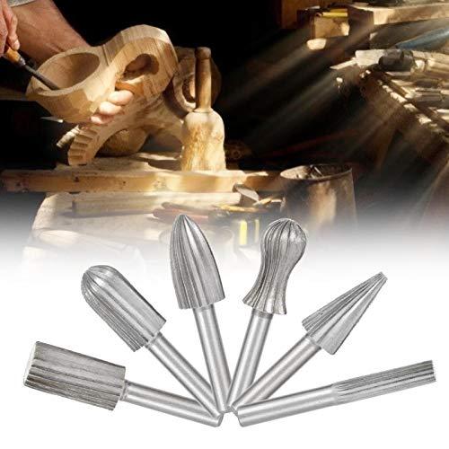 Rodamiento de acero liviano 6 piezas para plástico de alta eficiencia para metal blando, piedra, buen efecto de procesamiento(6PC hard rotary file gray)