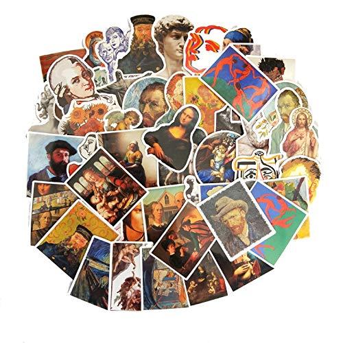 Beroemde Schilderij Stickers Van Gogh Patroon Wereld Masterpiece Cool Laptop Decoratie Sticker50 stks