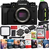Fujifilm X-T4 Mirrorless Digital Camera Body (Black) with IBIS Stabilization and 4K Video Bundle with Deco Gear Photography Backpack + Photo Video LED Light + 128GB Memory Card + Software Kit