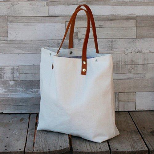 Bolso - Blanco - Shopping bag - Maxibolso al hombro hecho a mano en lona, con asas de piel desmontables