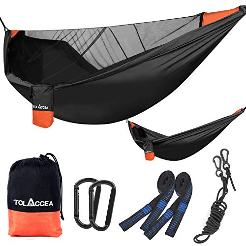 Tolaccea Hammock with Mosquito Net , Camping Hammock, Parachute Material,Lightweight and Portable Hammock for Indoor,Outdoor,Hiking,Camping,Backpacking,Travel,Backyard,Beach,Adventures(Black)