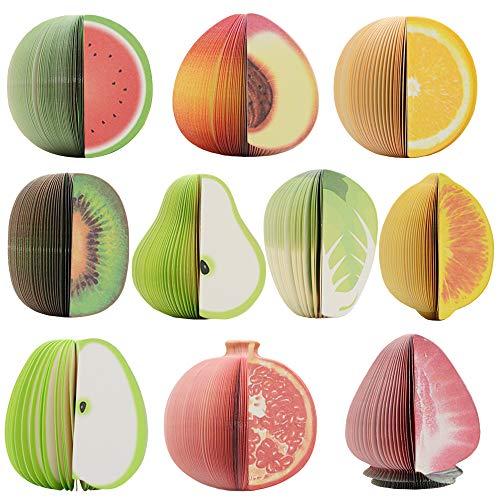 Notizblock für Obstform in 3D-Form, gemischte Neuheit Büro-Notizblock-10 Pads pro Packung-150 Blatt pro Pad-pro-Pad 1 Farben-pro-Pack 10 verschiedene Formen im Inneren (Nicht-Selbst-Stick)