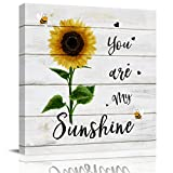 applebless Oil Painting on Canvas Sunflower You are My Sunshine Wall Art Home Decor Bee Heart Wooden Plank Modern Pictures Painting for Living Room, Ready to Hang - 12x12 inches
