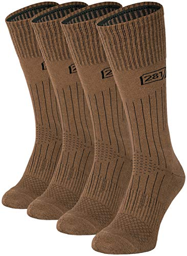 281Z Military Lightweight Boot Socks - Tactical Trekking Hiking - Outdoor Athletic Sport (Coyote Brown)(X-Small 4 Pairs Pack)