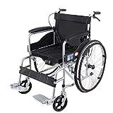 ZHONGXIN Silla de ruedas de tránsito, plegable con reposabrazos y reposapiés extraíbles de Seguridad, para ancianos y minusválidos, manual (Black A)