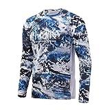 Huk Men's Pursuit Camo Vented Long Sleeve 30 UPF Fishing Shirt, Mossy Oak Hydro Glacier, Large