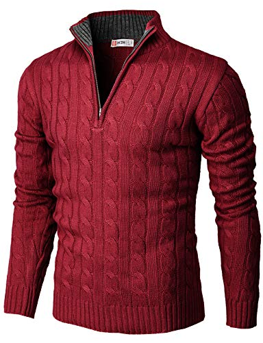 H2H Mens Casual Slim Fit Pullover Sweaters Mock Neck Zip up Various Patterned RED US XL/Asia 2XL (CMOSWL040)