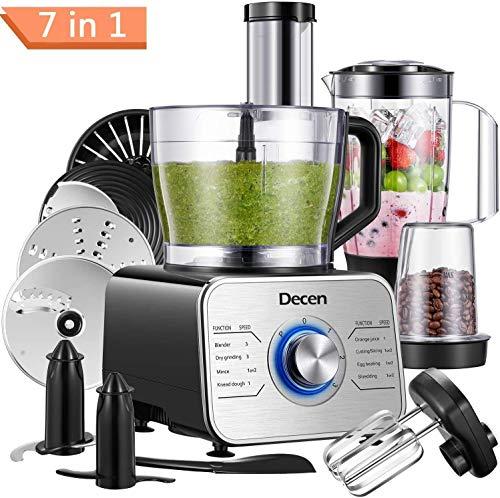 Decen Procesador de Alimentos, 1100 W Robot de Cocina, Tazón 3.5 L y Jarra Licuadora 1.5L, 3 Modos de Velocidad más Función de Pulso, Negro(Recibido Dentro de 5 Días)