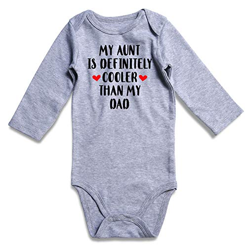 TUONROAD My Aunt is DEFINITLY Cooler Than My DAD Baby Girl Boy Playsuit Long Sleeve Bodysuit for Girl Boy 0-12Months Playsuit