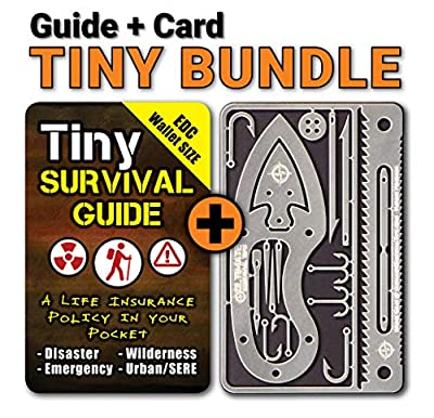 Tiny Survival Guide: A Life Insurance Policy in Your Pocket & Tiny Survival Card: A 17-in-1 Mini Survival Tool for Emergency & Disater Preparedness. Both Fit in Your Wallet and Make a Great Gift!