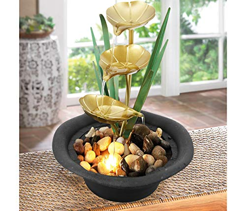 GEEZY Indoor Tabletop Fountain Water Feature LED Lights Polyresin Statues Home Decoration (Lotus Fountain)