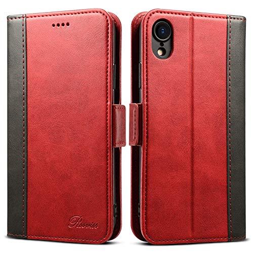 Rssviss iPhone XR Hülle, iPhone XR Handyhülle iPhone XR Lederhülle PU[3 Kartenfächer ] [Handy Ständer] mit [Magnetverschluss] für iPhone XR, 6.1 Zoll, Rot