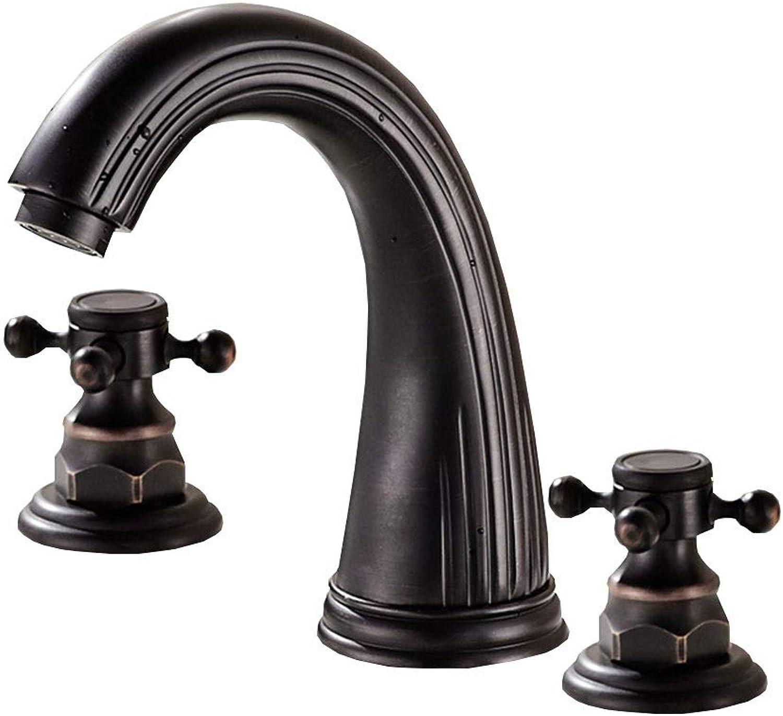 Schwarzes Becken Wasserhahn heie und kalte Drei-Loch Wasserhahn Keramik Stück Spule verblasst nicht Rost Wasserhahn Split dreiteilig
