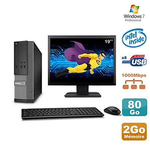 Dell Lot PC Optiplex 3020 SFF Intel G3220 3GHz 2Go 80Go DVD W7 + Ecran 19in (Reconditionné Grade A)