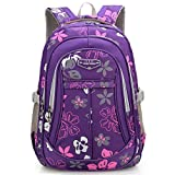 Yvechus School Backpack Casual Daypack Travel Outdoor Camouflage Backpack for Boys and Girls (Purple Flower)