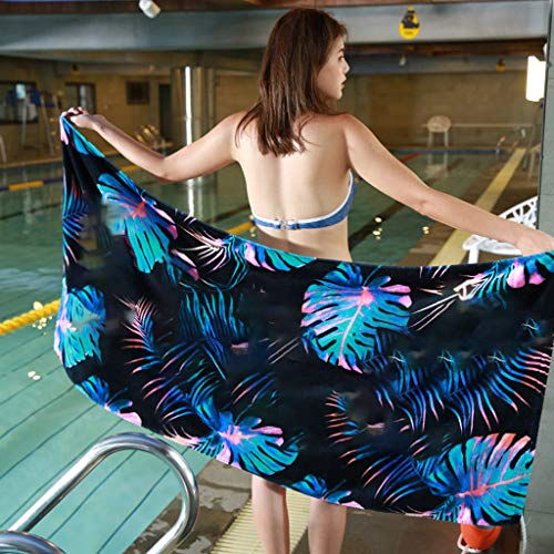 MVPKK Toallas de Playa Leopardo Hojas Flor Impreso Rectangular Chic Toallas de Playa Si Mandala Mantel Bohemio Talla Grande Grueso Tapiz de Playa Super Dulce Hippie Estera de Yoga (150x70CM, C)