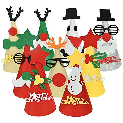 EMAGEREN Gorros Navideños de Fieltro, 15pcs Sombreros de Fiesta de Papá Noel de Reno de Muñeco Nieve de Copos Nieve Gorros de Cono con Cordón Elástico Sombreros de Cumpleaños para Niños y Adultos