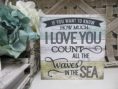 DKISEE If You Want to Know How Much I Love You - Count All The Waves of The Sea Wooden Sign Wood Romantic Beach Sign Beach House Decor 6