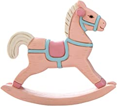 Vosarea Cake Topper Wooden Horse Resin Figurine Horse Decoration for Cake (Pink)