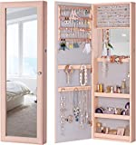 LUXFURNI Jewelry Armoire Organizer, Wall/ Door Mounted Cabinet with Full Length Mirror (Pink)