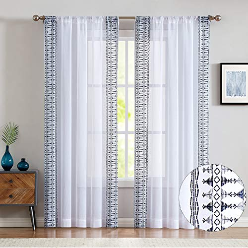 Jinchan Sheer Curtains Embroidered Bordered Rod Pocket 2 Panels Blue on White 84 inch Voile Living Room Bedroom Window Curtain Set