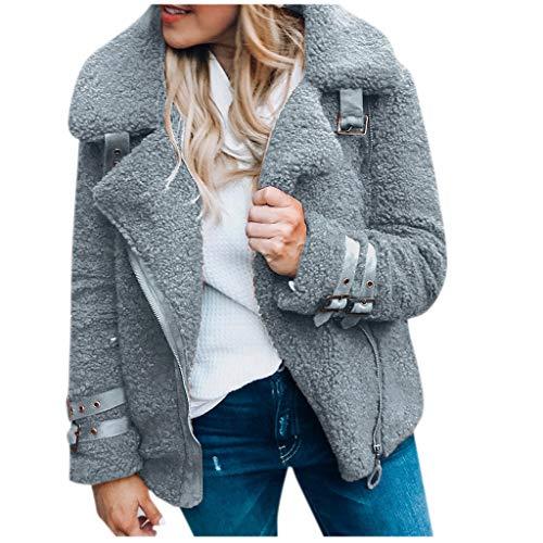 Plot Damen Fleecemantel Ohne Kapuze Mantel Plüschjacke Winter Winterjacke Warme Outwear Teddyfleece Jacke Reißverschluss Langarm Einfarbig