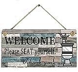 Segno da Bagno Divertente, 1 Pezzi Segno di Decorazione della Parete,Cartello di Benvenuto in Legno,con Scritta Welcome Thank You,per la Casa,Decorazione da Parete,Bagno (10 x20 cm)