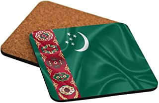 Rikki Knight Turkmenistan Flag Design Square Beer Coasters