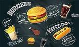 Papel tapiz Hamburguesa pintada a mano imagen de pierna de pollo restaurante restaurante de comida rápida carrito de helados tienda de postres cafetería cartel mural-250cmx175cm(LxA)