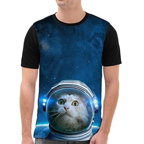 VOID Space Cat Camiseta gráfica para Hombre T-Shirt All-Over Print Galaxia Hipster Verano Festival, Talla:3XL