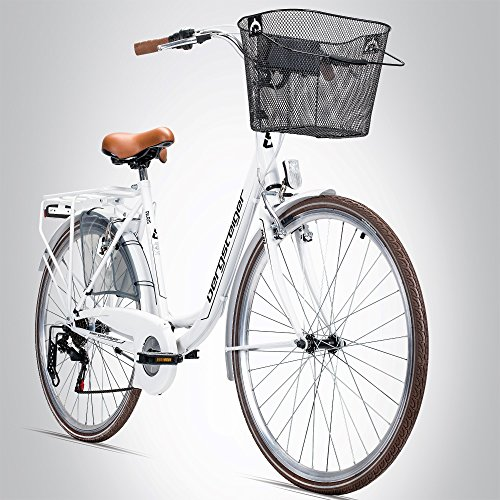 Bergsteiger Paris 28 Zoll Damenfahrrad, ab 160 cm, Korb, Fahrrad-Licht, Shimano 6 Gang-Schaltung, Damen-Citybike, Damenrad im Retro-Design