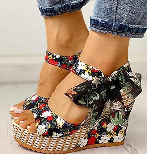 Sexy Zapatos de Verano Sandalias de Verano Sandalias Mujer Cuña Zapatillas de Estar Sandalias y Chancletas de Plataforma con Arco de Playa Zapatos Vestido, Fiesta,Boda,Style 6,40