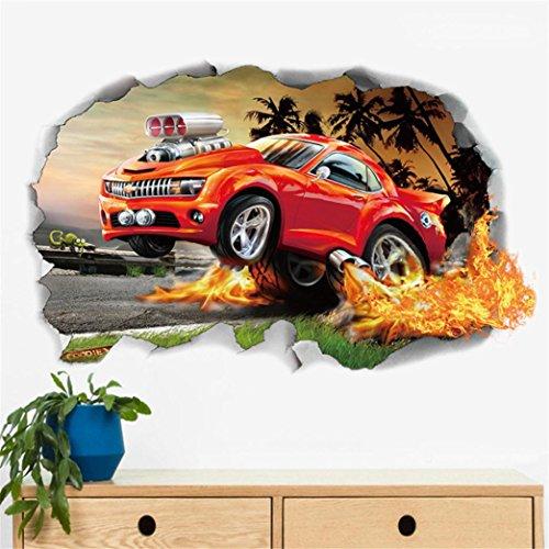 erthome Wandaufkleber, Wandtattoo 3D DIY Wand Aufkleber Art Wall Sticker Familienzimmer Dekor Abnehmbare (C Auto)