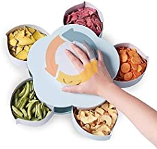 SELLZER ELECTRONICS Five Compartments Flower Candy Box Serving Rotating Tray Dry Fruit, Candy, Chocolate, Snacks Storage B...