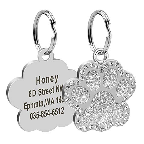 Didog Glitter Rhinestone Paw Print Custom Pet ID Tags,Crystal Stainless Steel Personalized Engrave ID Tags Fit Small Medium Large Dogs and Cats,Silver