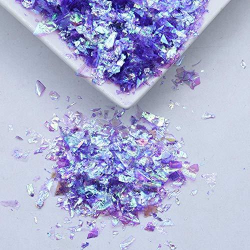 20g / paquet irrégulier Shell papier paillettes bricolage Nail Flakies coloré paillettes Nail Art paillettes pour 3D Nail Art décoration, AB violet, 20g