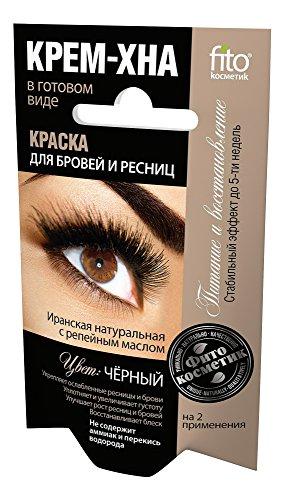 Henna Creme für Augenbrauen und Wimpern Farbe schwarz, 2 x 2 ml Краска для бровей и...