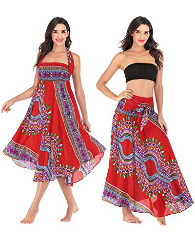 Salamola Women's Long Hippie Bohemian Skirt Gypsy Dress Bohemian 2 in 1 Printed Beach Dress Skirt Cover Up Female Bikini Wrap (Z0056 Red)