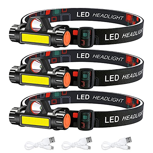 3-Pack Rechargeable Headlamp, Waterproof Headlight, Super Bright magnetic Head Lamp with Adjustable Strap, Portable USB LED Head Flashlight for Running Camping Fishing Outdoor Adults Kids