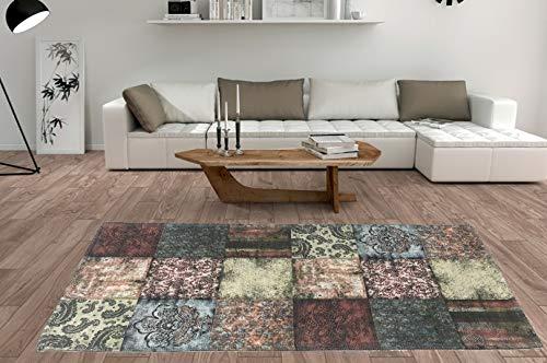 De'Carpet Alfombra Salón Dormitorio Moderna Algodón Lavable Estampada Collage Granate (60x110cm)