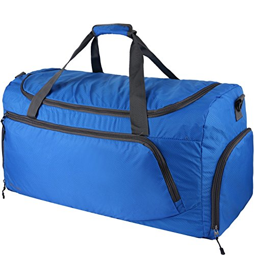 OXA Lightweight Foldable Travel Duffel Bag with Shoes Bag, Blue