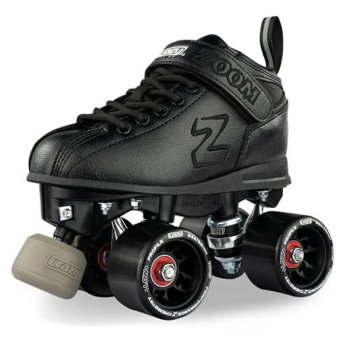 Crazy Skates Zoom Roller Skates - High Performance Speed Skates for Men and Women - Black (Size: US Mens 12   US Ladies 13   EU 45)