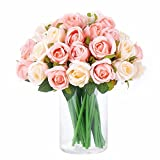 NYRZT Artificial Flowers Rose, 24 Heads Silk Roses Bridal Wedding Bouquet Decoration Home Office Party Decor Arrangements (Pink and Champagne)