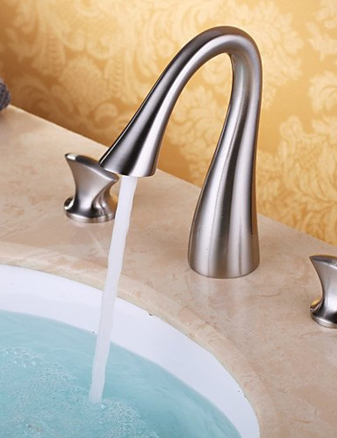 - Bathroom Sink Faucets Contemporary Waterfall Brass Nickel