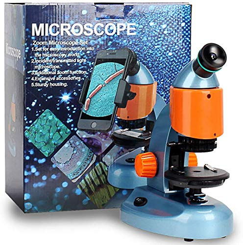 Landove 40X-200X Zoom Compound&Stereo Monocular Microscope for Student and Kids Education, with LED Light and Smartphone Holder