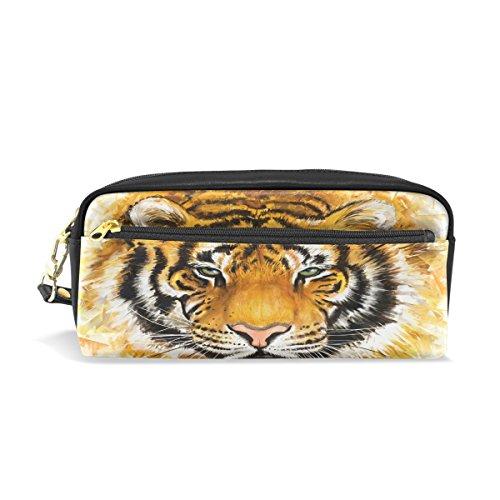 Trousse, tête de tigre Imprimé Voyage Maquillage Pouch Grande capacité étanche Cuir 2 compartiments pour filles garçons femmes Hommes
