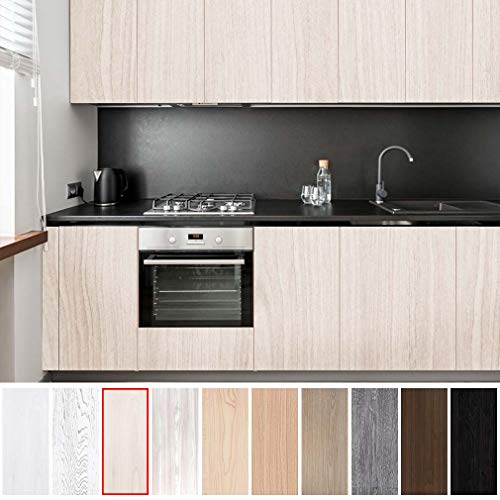 KINLO Möbelsticker für Schrank beige-Weiß 5x0.65M Klebefolie Aufkleber Wasserdicht die Möbel verschönen für Tisch Küchefolie Natur Motiv Dekofolie ölabweisung