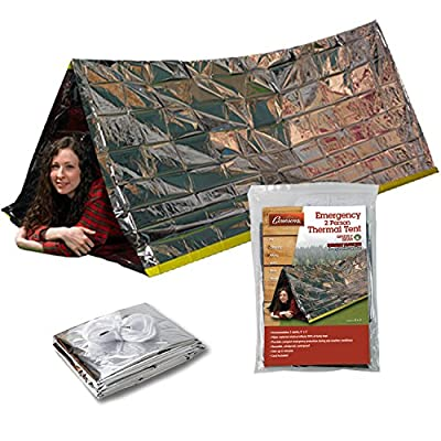 Grizzly Gear Emergency Thermal Tent- Reflective Mylar Survival Shelter- XL Size Waterproof Tube Tent Retains Heat and Fits 2 Adults in All Weather